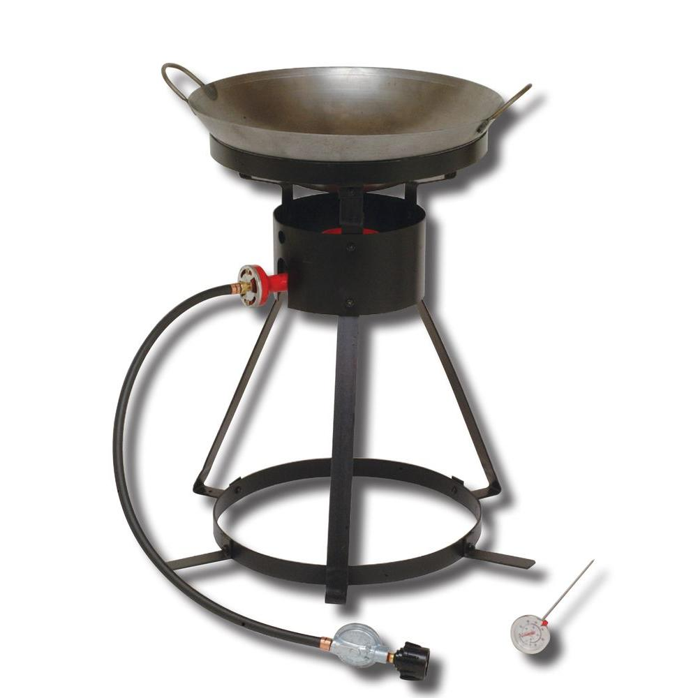 King Kooker 54,000 BTU Bolt Together Portable Propane Gas Outdoor Cooker with Special Recessed Wok Ring and 18 in. Steel Wok