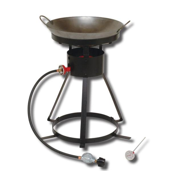 54,000 BTU Bolt Together Portable Propane Gas Outdoor Cooker with Special Recessed Wok Ring and 18 in. Steel Wok