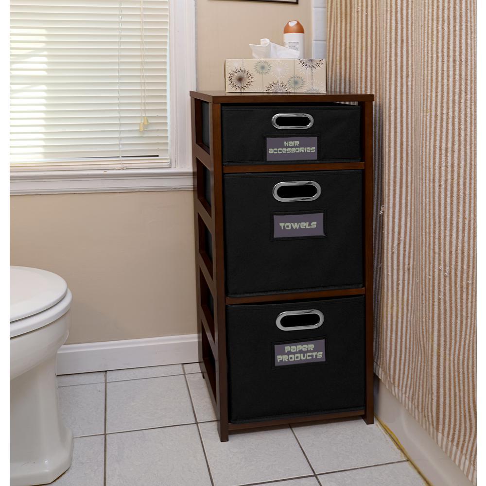 Flip Flop Mocha Walnut and Black 3-Shelf Folding Bookcase and Storage Tote Set
