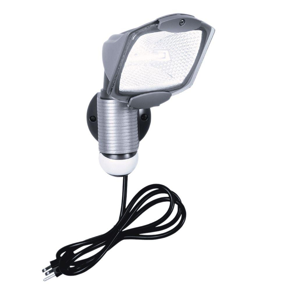 allpro 110degree outdoor grey quartz halogen motion activated plugin security