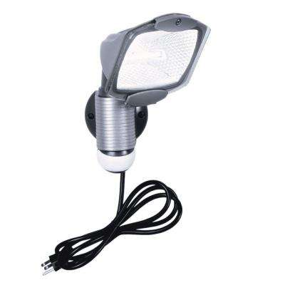 110-Degree Outdoor Grey Quartz Halogen Motion Activated Plug-in Security Light