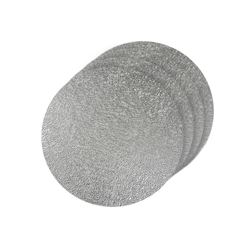 Dainty Home Lacey Silver Metallic Scribble Design Round