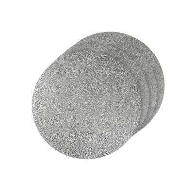 Lacey Silver Metallic Scribble Design Round Placemats (Set of 4)