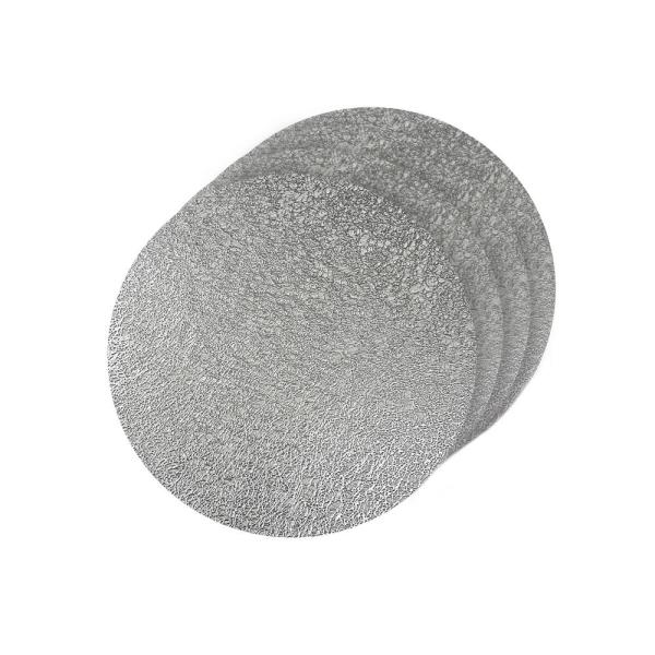 Dainty Home Lacey Silver Metallic Scribble Design Round Placemats (Set of