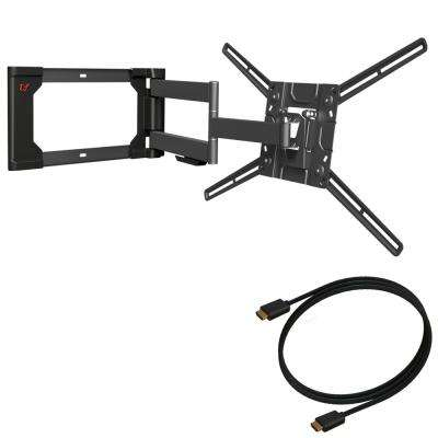 Barkan 40 in to 80 in Full Motion 4 movement, Curved / Flat TV Wall Mount, Dual-Arm, Up to 110 lbs with 4K HDMI Cable
