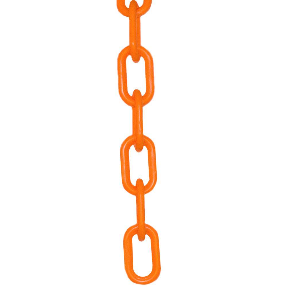2 in. (#8, 51 mm) x 100 ft. Safety Orange Plastic Chain