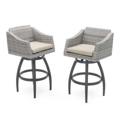 Cannes All-Weather Wicker Motion Patio Bar Stool with Slate Grey Cushions (2-Pack)