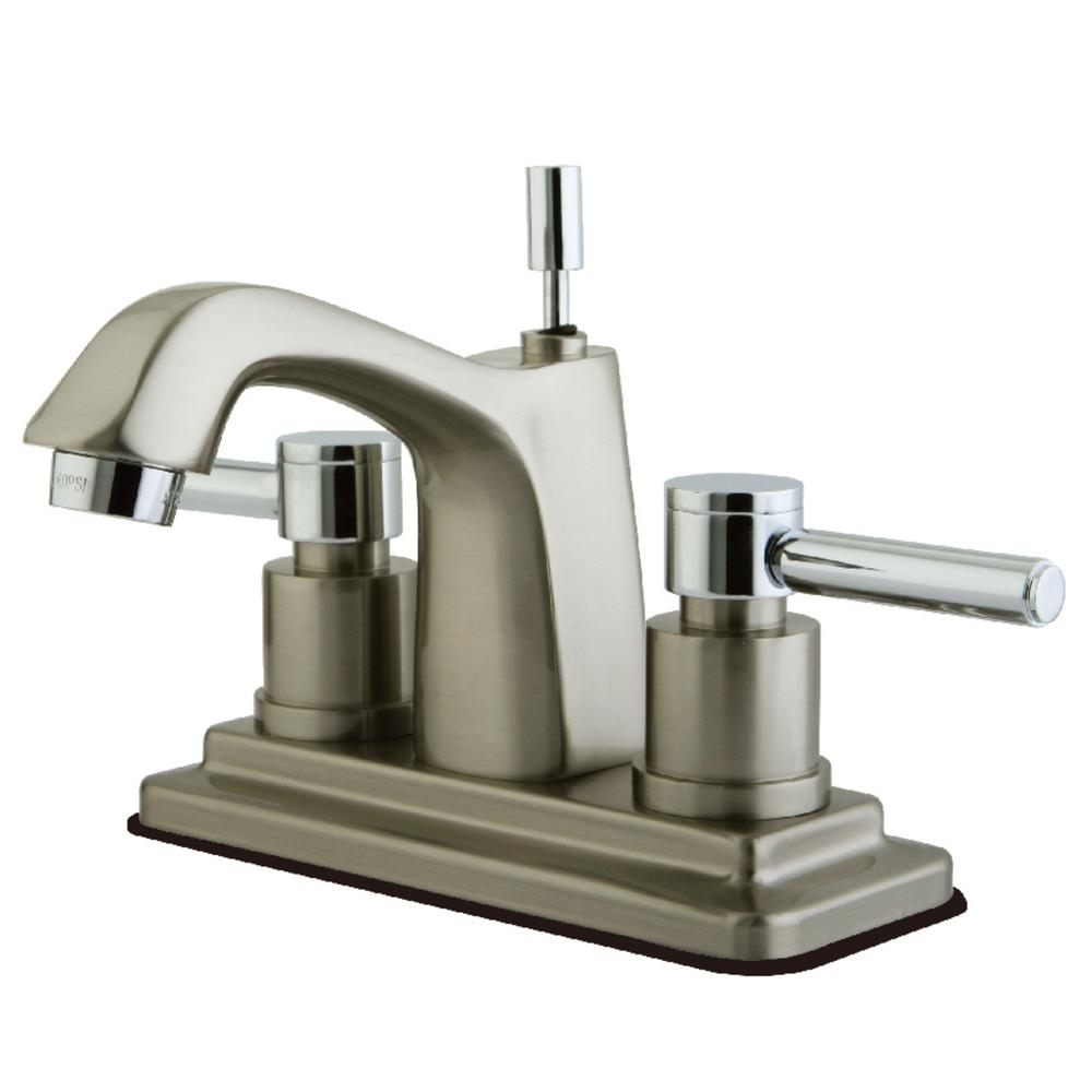 Concord 4 in. Centerset 2-Handle Bathroom Faucet in Chrome and Brushed
