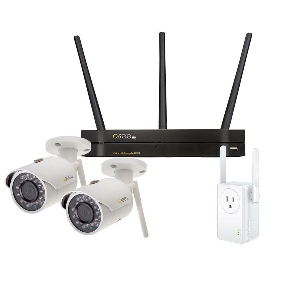 Q-SEE 4-Channel 3MP 1TB Wi-Fi Surveillance NVR with 2 Wi-Fi IP Pro Cameras  and Wi-Fi Extender