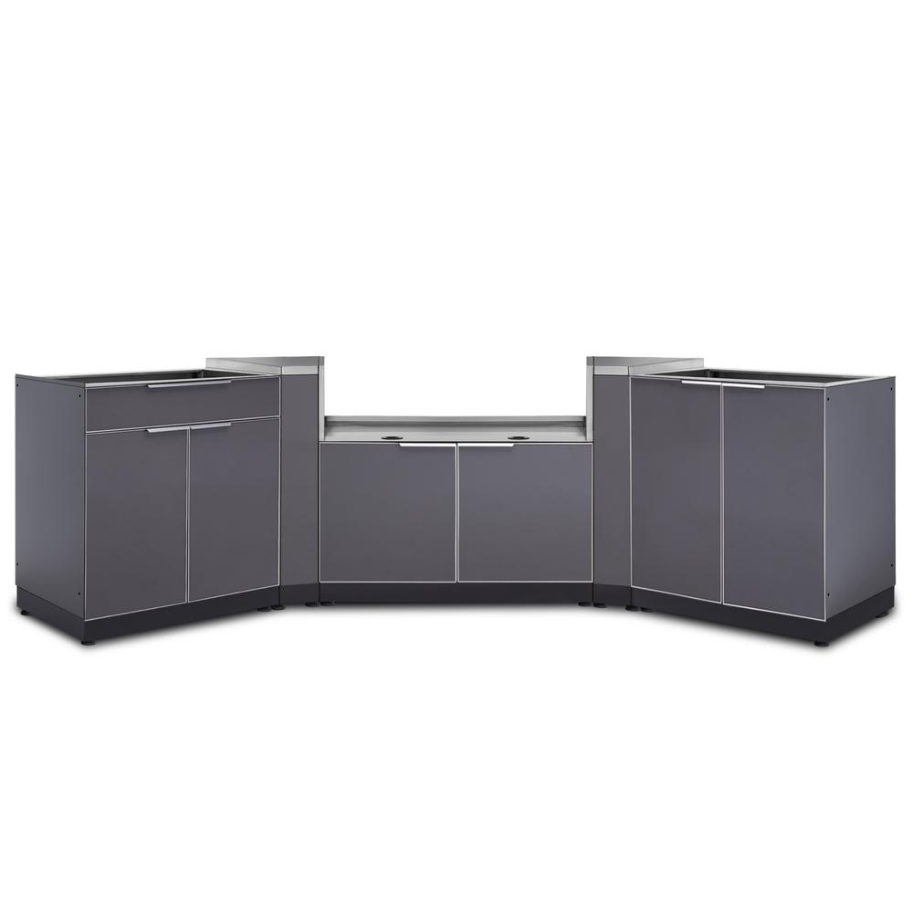 NewAge Products Slate Gray 5-Piece 168.25 in. W x 36.5 in. H x 24 in. D  Outdoor Kitchen Cabinet Set