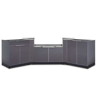 Slate Gray 5-Piece 154 in. W x 36.5 in. H x 24 in. D Outdoor Kitchen Cabinet Set
