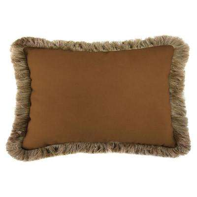 Sunbrella 19 in. x 12 in. Canvas Teak Lumbar Outdoor Throw Pillow with Heather Beige Fringe
