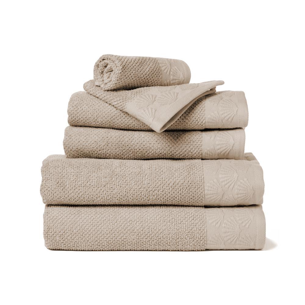 Coastal Shell 6-Piece 100% Cotton Bath Towel Set in Linen
