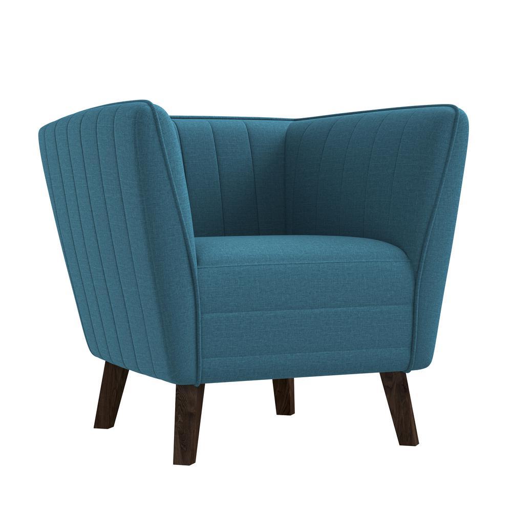 Archibald Medium Blue Textured Linen Channel Tufted Club Chair