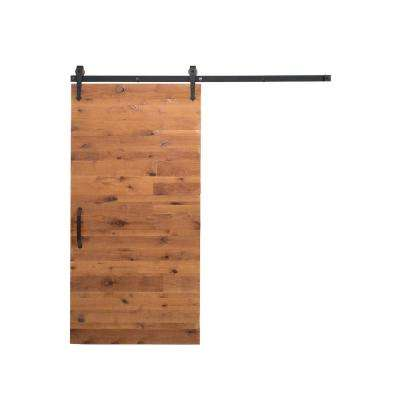 36 in. x 84 in. Reclaimed Clear Wood Barn Door with Arrow Sliding Door Hardware Kit