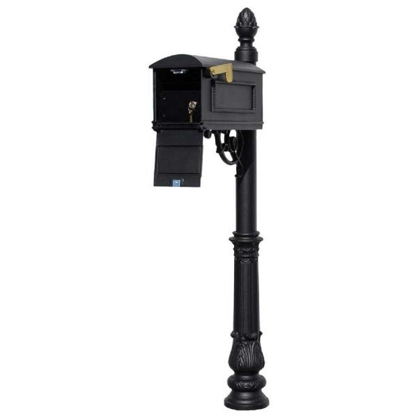 Lewiston Black Post Mount Locking Insert Mailbox with decorative Ornate Base and Pineapple Finial