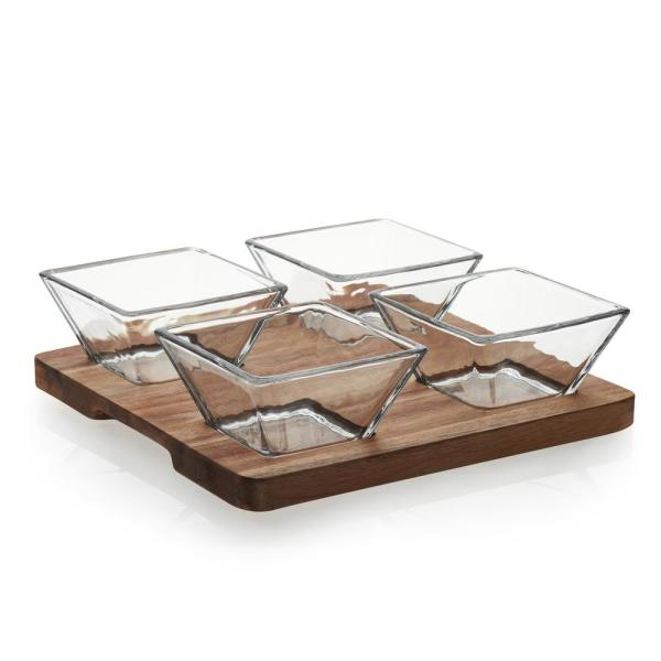 Libbey Acaciawood 4-Piece Glass Antipasto Bowl Set with Wood Serving Board