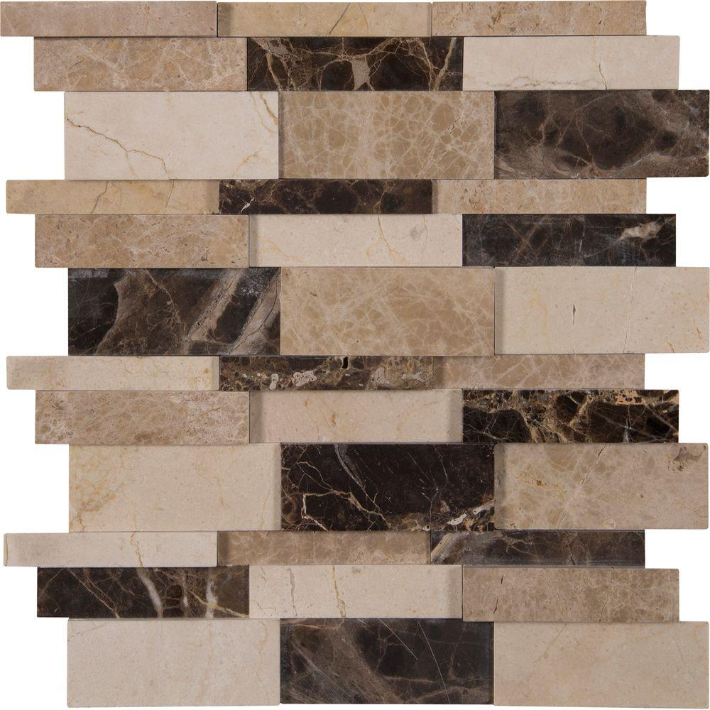 Ms International Asteria Blend 12 In X 10 Mm Polished Marble Mesh Mounted Mosaic Tile Sq Ft Case Il The Home Depot