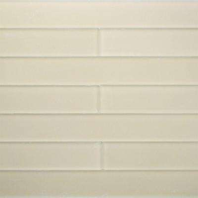 Contempo Vista Frosted Macadamia Glass Subway Wall Tile - 2 in. x 8 in. Tile Sample
