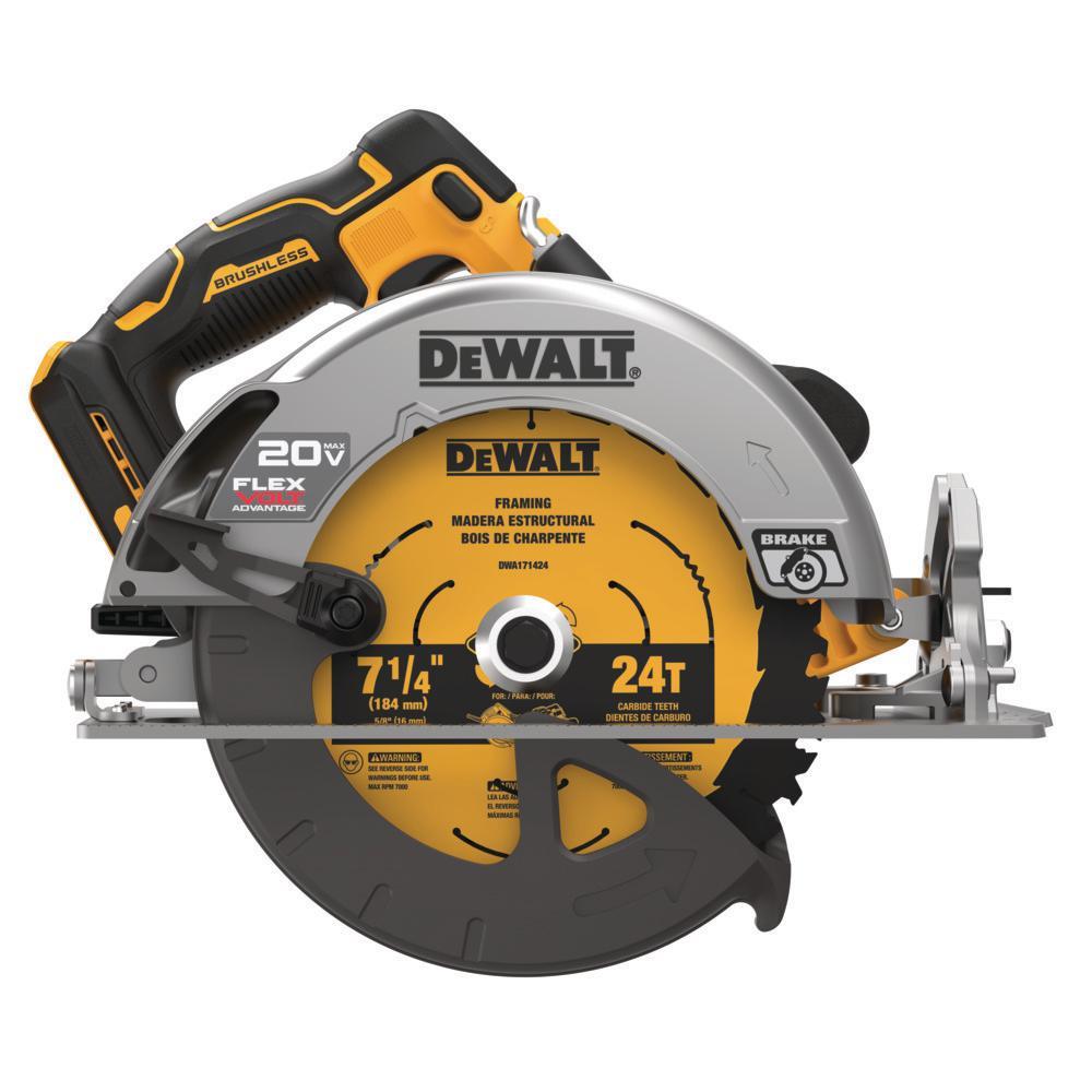 DEWALT 20-Volt MAX Lithium Ion Cordless Brushless 7-1/4 inch Circular Saw w/ FLEXVOLT ADVANTAGE (Tool Only)