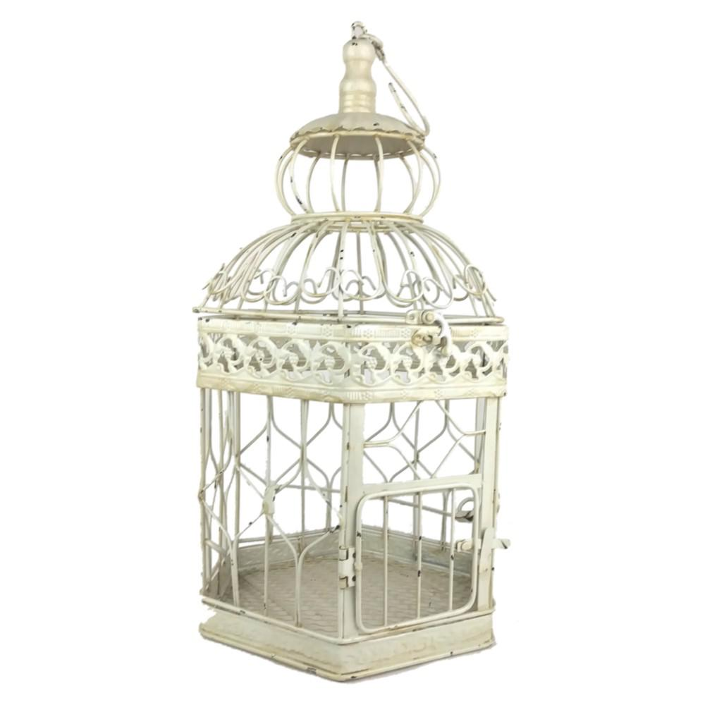 Decorative Metal Bird Cage.Bird Cage 18 In Antique White Decorative French Style Bird Cage