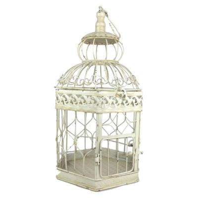 18 in. Antique White Decorative French Style Bird Cage