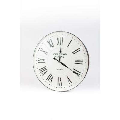 White Enamel Wall Clock with Roman Numerals