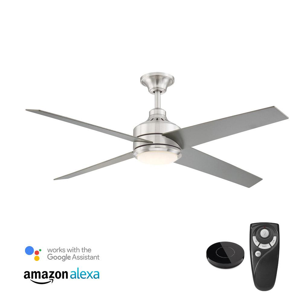 Home decorators collection mercer 56 in integrated led brushed nickel ceiling fan with light kit