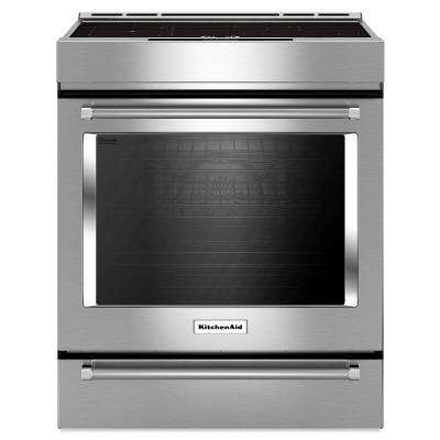 7.1 cu. ft. Slide-In Induction Range Double Oven with Self-Cleaning Convection Oven in Stainless Steel