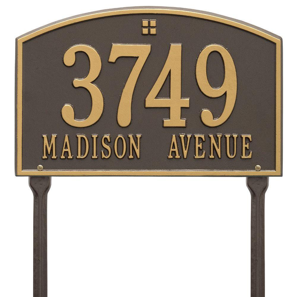 Cape Charles Rectangular Bronze/Gold Standard Lawn 2-Line Address Plaque