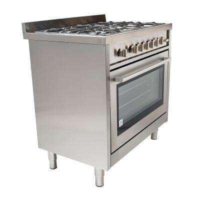 36 in. 3.8 cu. ft. Gas Range in Stainless Steel with 5 Italian Made Burners and Motorized Rotisserie