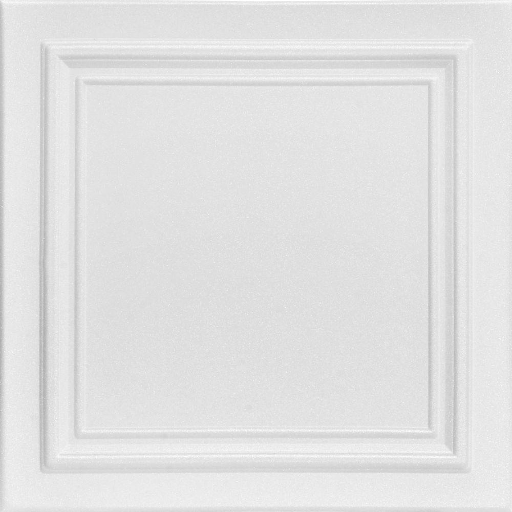 Line Art 1.6 ft. x 1.6 ft. Glue Up Foam Ceiling Tile in Plain White (21.6 sq. ft./case)