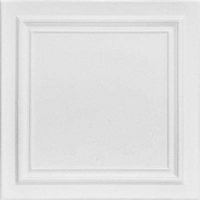 Line Art 1.6 ft. x 1.6 ft. Foam Glue-up Ceiling Tile in Plain White (21.6 sq. ft./Case)