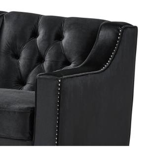 Outstanding Inspired Home Queenie Velvet Club Arm Chair Black Tufted Creativecarmelina Interior Chair Design Creativecarmelinacom