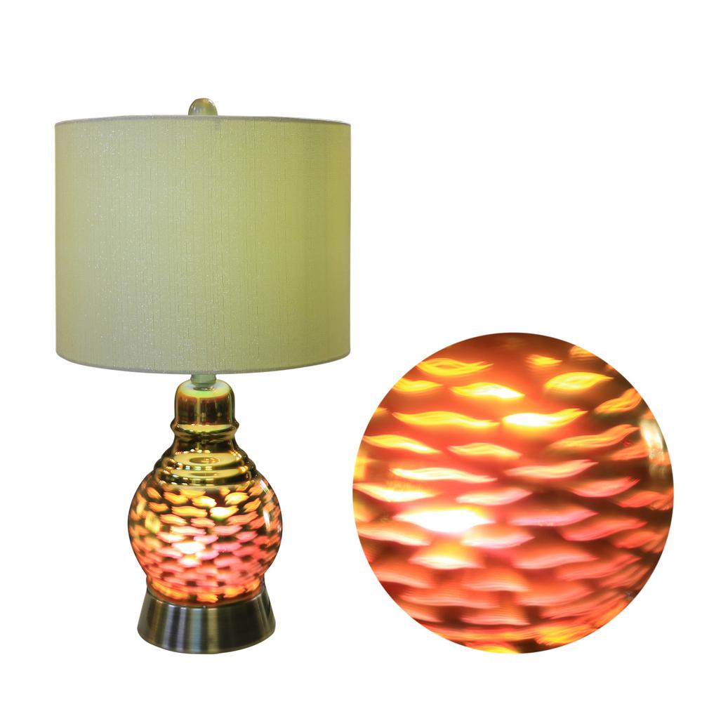 Fangio Lighting 22.5 in. Antique Brass Metal and Glass Table Lamp with 3D Wave Nightlight Design