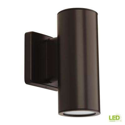 Cylinders Collection 2-Light Antique Bronze Integrated LED 8.25 in. Outdoor Wall Mount Cylinder Light