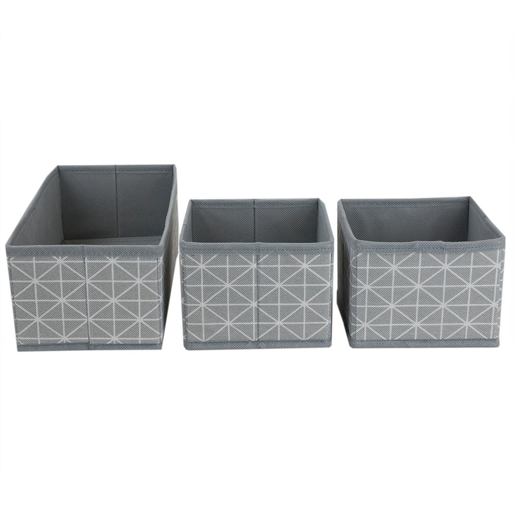 Home Basics Diamond Collection 12 in. x 1 in. Bin (3-Pack)