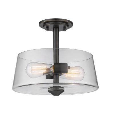 Aurora 2-Light Olde Bronze Semi-Flush Mount with Clear Shade