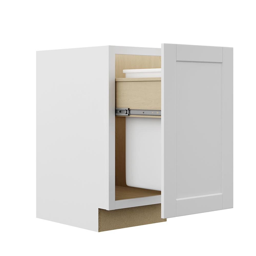 Pull Out Trash Can Base Kitchen Cabinet In Satin White