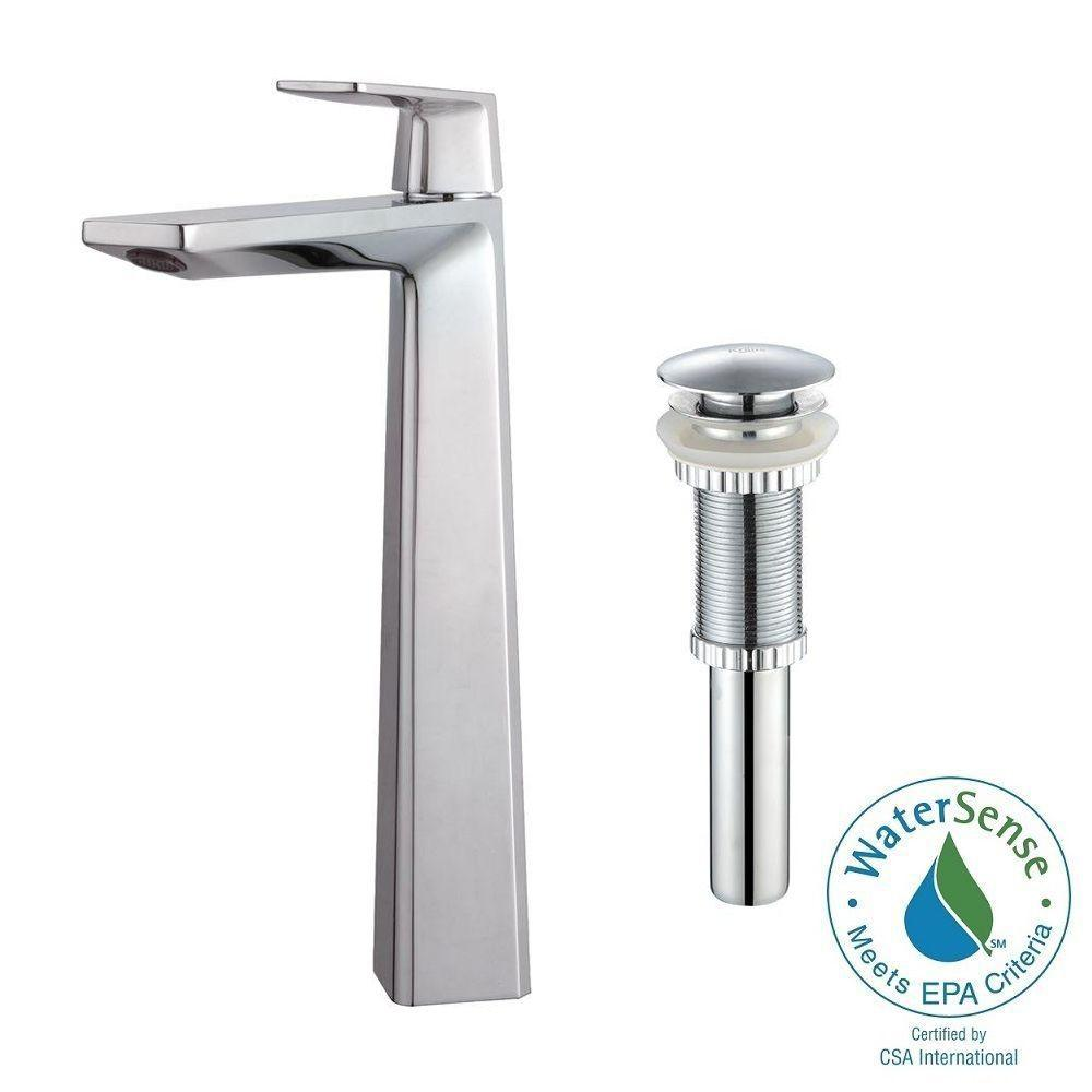 Aplos Single Hole Single-Handle High-Arc Vessel Bathroom Faucet with Matching