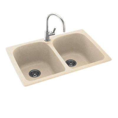 Dual Mount Composite 33 in. 1-Hole Double Bowl Kitchen Sink in Tahiti Sand