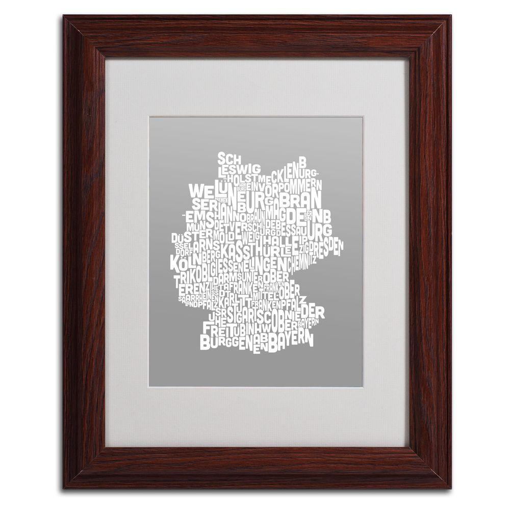 Trademark Fine Art 11 in. x 14 in. Germany Regions Map - Neutral Matted Framed Art