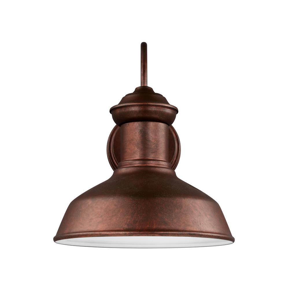 Sea Gull Lighting Fredricksburg 1-Light Weathered Copper Outdoor 11.9375 in. Wall Lantern Sconce with LED Bulb
