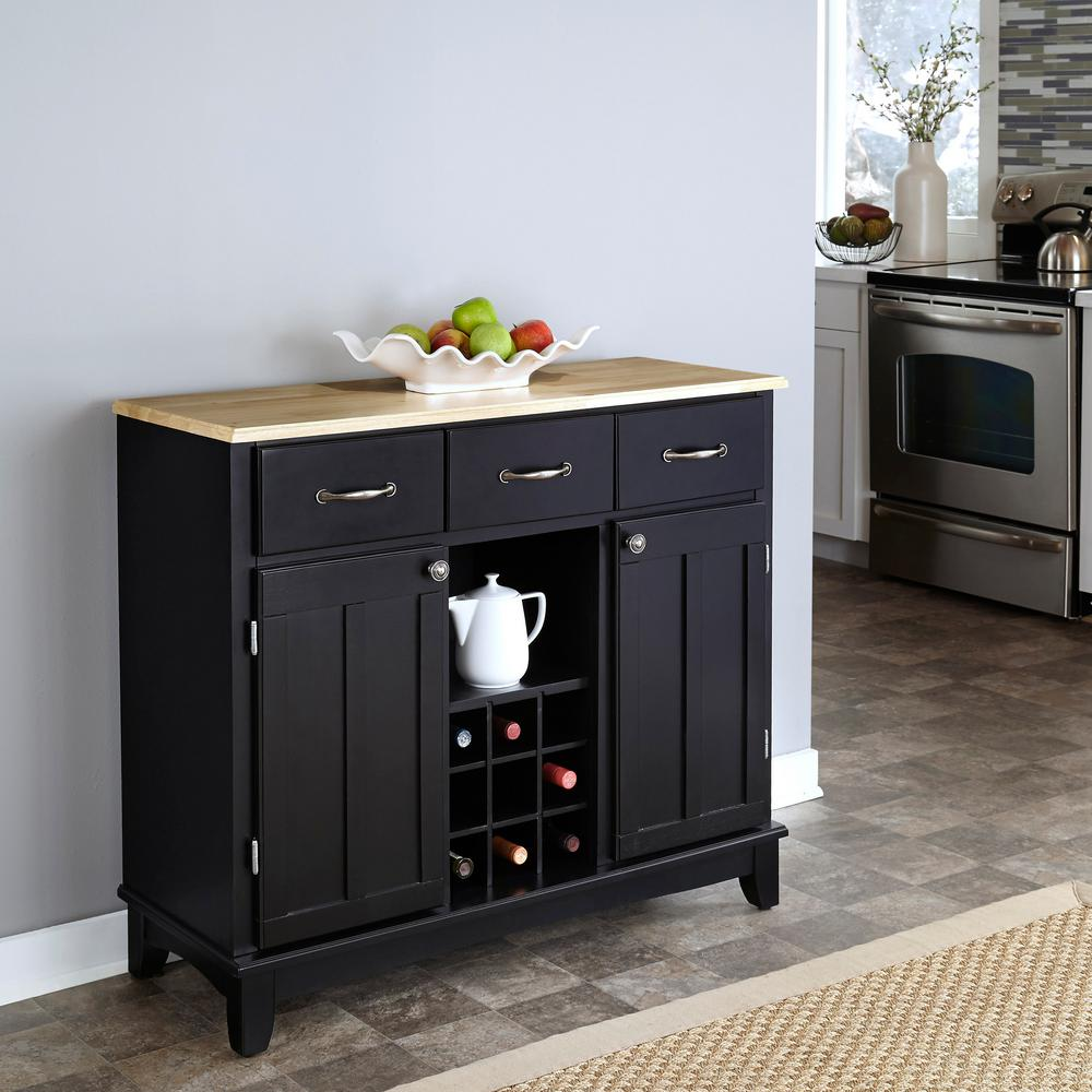 Black and Natural Buffet with Wine Storage