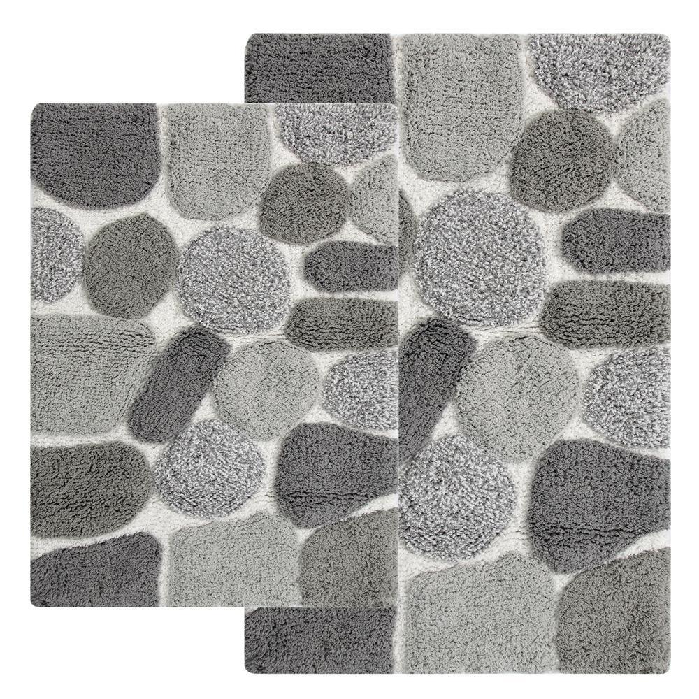 Pebbles 24 in. x 40 in. 2-Piece Bath Rug Set in Grey