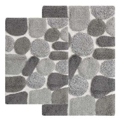 Pebbles 24 in. x 40 in. 2-Piece Bath Rug Set in Grey