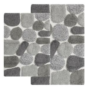 black and white bathroom rug set chesapeake merchandising pebbles 20 in x 40 in 2 25112
