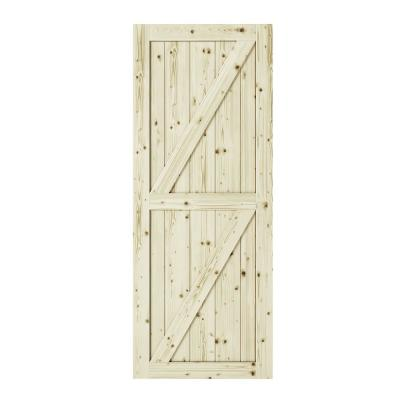 33 in. x 84 in. Full Check Double Z-Brace Unfinished Knotty Pine Interior Barn Door Slab