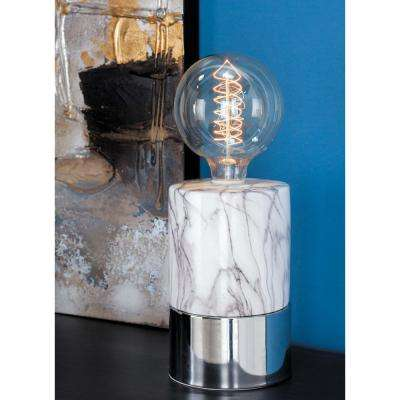 14 in. Modern White Ceramic Lamp with Bulb