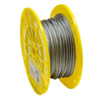 1/8 in. x 500 ft. Galvanized Aircraft Cable 7x7 Construction Reeled